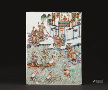 民国 粉彩白娘子水漫金山寺纹瓷板
