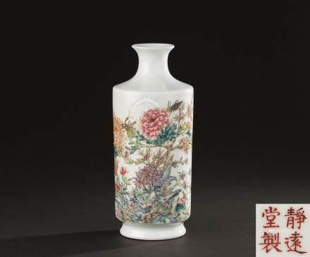 民国 粉彩四季花卉纹瓶