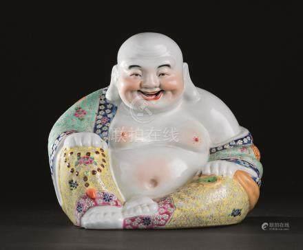 民国 粉彩弥勒佛座像