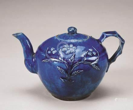 民国 蓝釉贴花紫砂胎花卉纹茶壶