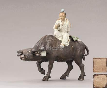 刘泽棉  石湾窑书童牧牛摆件