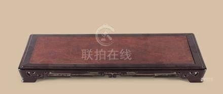 紫檀嵌瘿木面长方台
