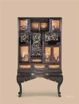 19世纪 莳绘嵌百宝立柜