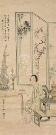 沙馥(1831~1906)  仕女 立轴 设色纸本
