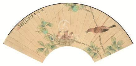 胡公寿(1823~1886)  哺雏图 镜心 设色纸本