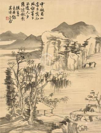 胡公寿(1823~1886)  秋影图 立轴 水墨绢本