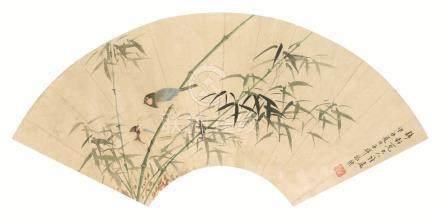 张熊(1803~1886)  竹雀 扇面 镜心 设色纸本
