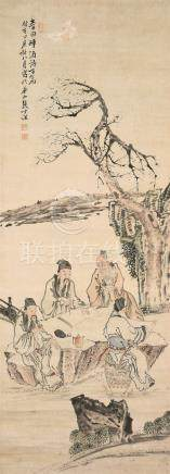 张士保(1805~1878)  李白醉酒诗百篇 立轴 设色纸本