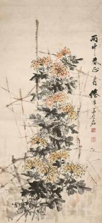 虚谷(1823~1896)  雨中春 立轴 设色纸本