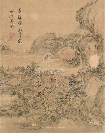 张熊(1803~1886)  山水 镜心 设色绢本