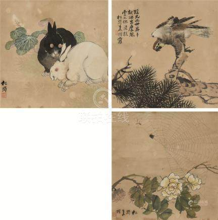 朱松龄(?~1827)  松鹰 双兔 花卉蜘蛛 三幅 立轴 设色纸本