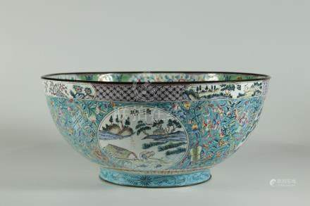 Rare 18/19th C. Peking enamel/bronze large bowl