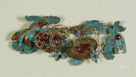 Superb kingfisher vermeil/enamel hairpin, Qing dynasty