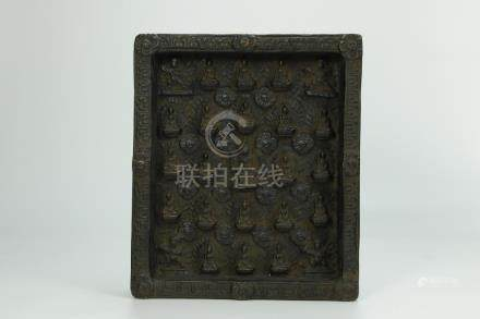 Rare 19th C. hardwood carved Buddhist TSA TSA, Tibet