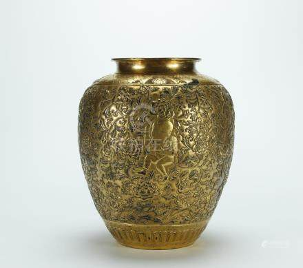 Superb carved gilt bronze vase, Kangxi mark, late