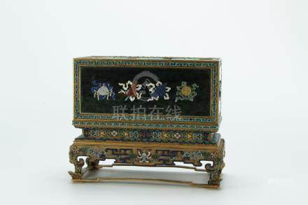 Superb gilt bronze/vermeil enamel box, large size
