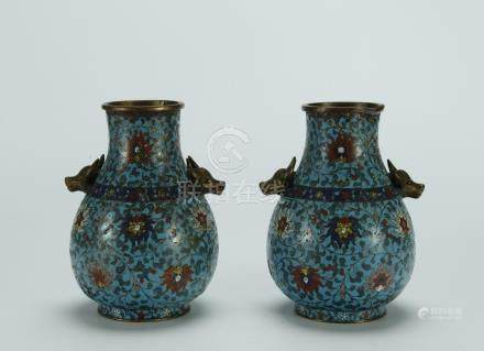Rare 18/19th C. pair cloisonne vases/cow's head handles