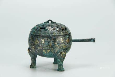 Rare archaic gold/silver inlaid bronze handled censer,