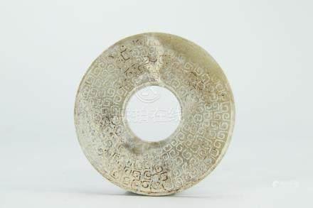 "Archaistic jade carved ""bi"" disk, Han dynasty"
