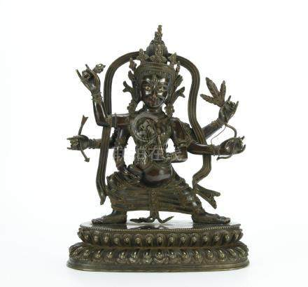19/20th C. bronze six arms Guanying figure