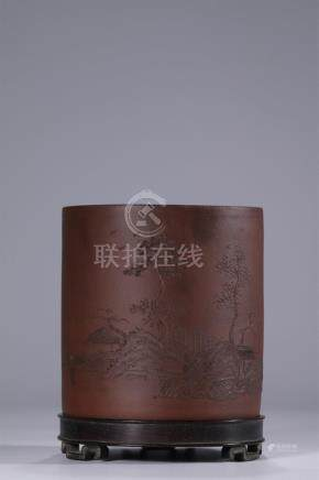 Superb carved zisha brush pot with hardwood stand