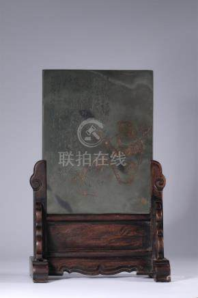 An old hardwood/Duan stone carved screen/poem