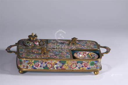 Superb cloisonne/enamelled table writing set, late Qing