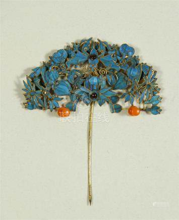 19th C. kingfisher filigree vermeil/enamel hairpin