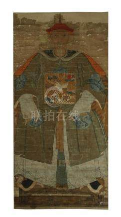 Rare colour on paper painting, figure, Qing dynasty
