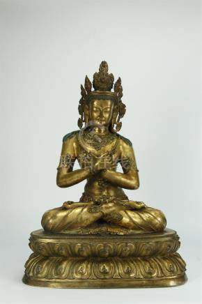 Superb large gilt bronze Buddha statue, probably early
