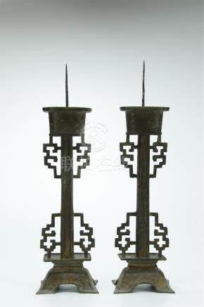 19th C. pair Chinese tin metal candlestick candlesticks