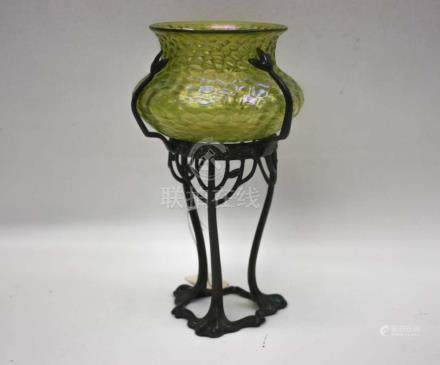 LOETZ BOWL ON BRONZED STAND the iridescent green L