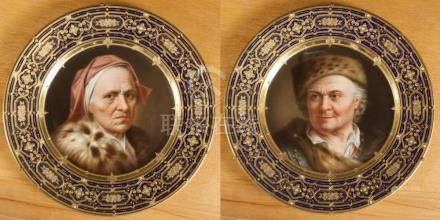 SET OF TWO ROYAL VIENNA STYLE PORTRAIT PLATES, han