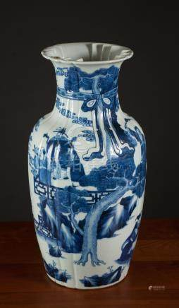 CHINESE BLUE AND WHITE PORCELAIN VASE, of baluster