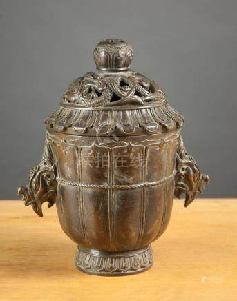 CHINESE BRONZE LIDDED CENSER, of circular form wit