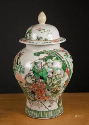 CHINESE WUCAI PORCELAIN LIDDED JAR, baluster form