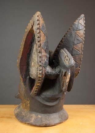AFRICAN CARVED WOOD HEADDRESS (EGUNGUN), Yoruba pe