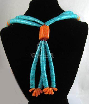 NATIVE AMERICAN DOUBLE STRAND BEAD NECKLACE, with