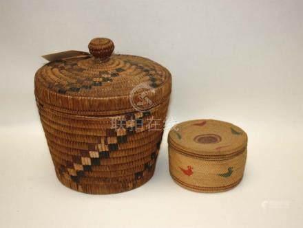 THREE NATIVE AMERICAN ITEMS: Makah covered basket