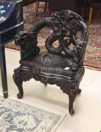 A HIGHLY CARVED CHINESE STYLE DRAGON ARMCHAIR, Jap
