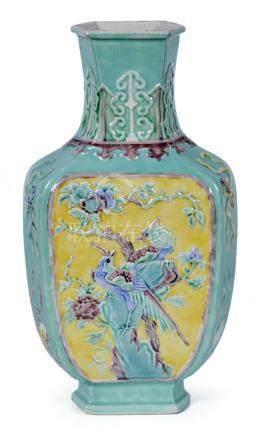 民國 粉彩雙鳳凸瓷瓶