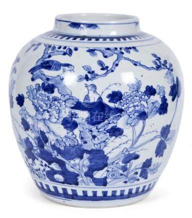 清 青花花鳥紋罐