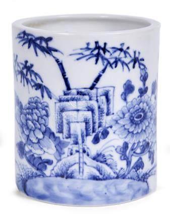 清 青花花卉紋筆筒