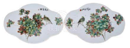 清 粉彩花鳥海棠瓷板一對