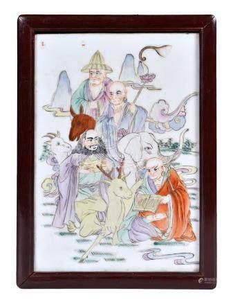 民國 粉彩人物瓷板