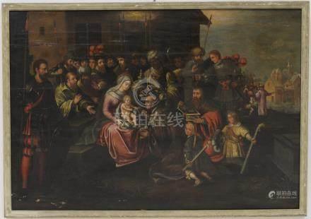 SCUOLA FIAMMINGA DEL XVII SECOLO. Dipinto olio su tavola raff. 'ADORAZIONE DEI MAGI'. In cornic