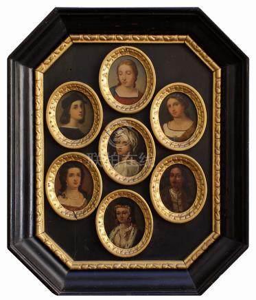Sette piccole miniature ovali olio su rame raff. 'RITRATTI'. XIX secolo. In cornici dorate entr