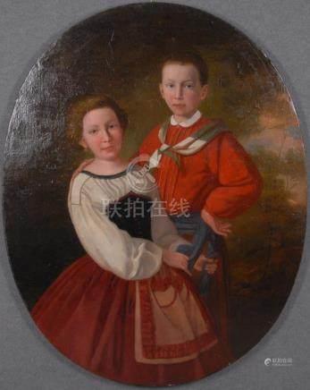 Dipinto ovale olio su tela raff. 'BAMBINI GARIBALDINI'. XIX secolo. Misure : Lung. cm. 93 Alt.