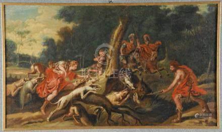 Dipinto olio su tela raff. 'DIANA CHE CACCIA UN CINGHIALE'. XVII secolo. Rintelato e rintelaiat