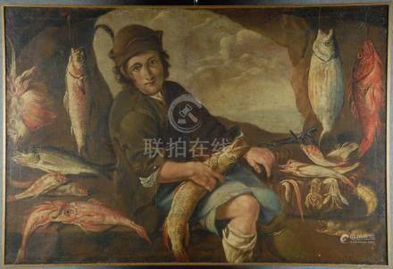 Dipinto olio su tela raff. 'PESCIVENDOLO'. XVII secolo. Rintelato e rintelaiato.Misure : Lung.